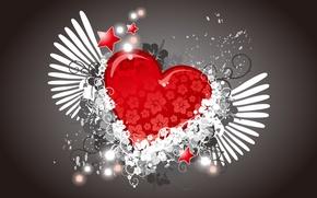 Обои цветы, вектор, крылья, сердце