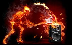 Обои гитара, скелет, рок, огонь