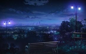 Картинка небо, звезды, облака, скамейка, ночь, город, огни, дома, арт, фонари, monorisu
