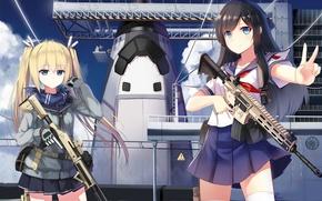 Обои арт, yuri shoutu, девушки, оружие, оружие
