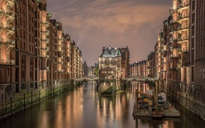 Картинка ночь, Германия, Гамбург