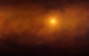 Картинка космос, облака, свет, звезда