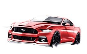 Картинка Mustang, Ford, Скетч, 2015