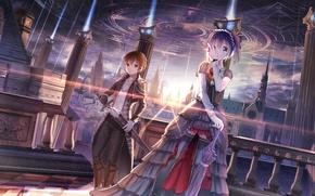 Обои звезды, небо, девушка, меч, аниме, город, red flowers, chuunibyou demo koi ga shitai!, togashi yuuta, ...