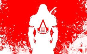 Картинка Assassins creed 3, коннор, убийца, красный, белый, ubisoft, герб