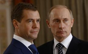 Обои Россия, Президент, В. Путин, Д. Медведев, Премьер-министр, политика, Взгляд