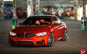 Картинка BMW, turbo, red, wheels, Coupe, power, germany, vossen, angel eyes, F82.tuning