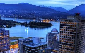 Картинка city, Canada, night, Vancouver