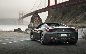 Картинка Ferrari, 458, Bridge, Water, Back, Gray, Spider, Supercar, Rocks