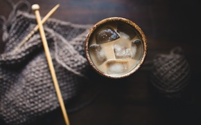 Картинка лед, стакан, чашка, спицы, вязание