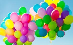 Обои шарики, balloons, colorful, happy, sky, воздушные шары