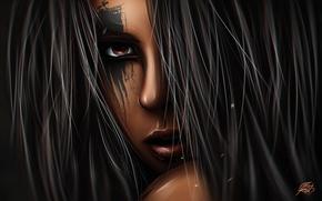 Обои рисование, девушка, Mark Raid, digital art, стиль, взгляд, графика, портрет