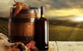 Картинка бутылка, бочка, фон, вино, красное, листья, виноградники, осень