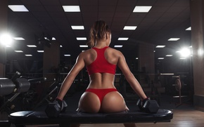 Картинка hot, sexy, ass, model, butt, workout, fitness, dumbbells