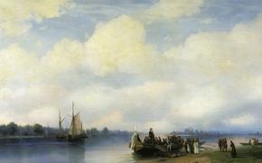 Картинка масло, Холст, Иван АЙВАЗОВСКИЙ, Петра I на Неву, (1817-1900). Приезд