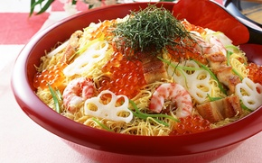 Картинка рыба, икра, салат, креветки, морепродукты, Caviar, Seafoods, Shrimp