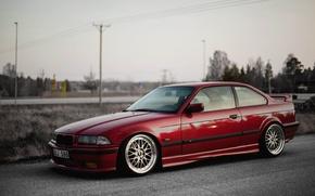 Картинка Дорога, Красная, BMW, БМВ, Red, oldschool, 3 series, E36, Stance