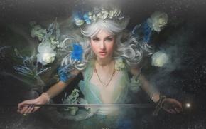 Картинка цветы, меч, блондинка, girl, style