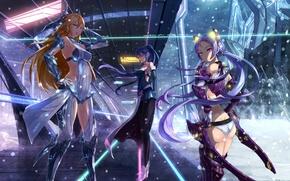 Обои снег, оружие, девушки, аниме