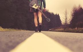 Картинка дорога, девушка, музыка, гитара