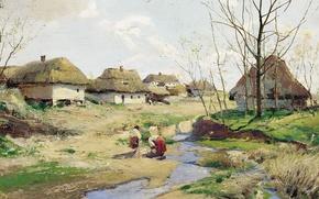 Картинка масло, Дерево, Сергей ВАСИЛЬКОВСКИЙ, Весенний день на Украине, (1854-1917)