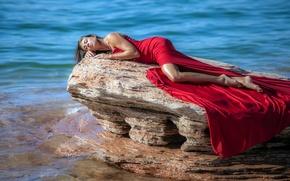 Картинка море, девушка, скала