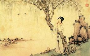 Картинка пейзаж, Китай, миниатюра