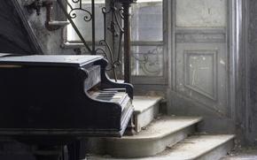 Картинка музыка, лестница, пианино