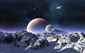 Картинка небо, звезды, снег, горы, планеты, комета, terraspace