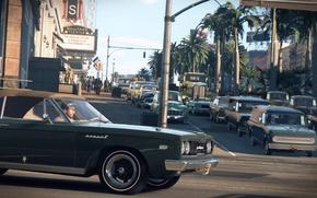 Обои город, движение, улица, игра, поток, автомобили, Mafia III, Мафия 3