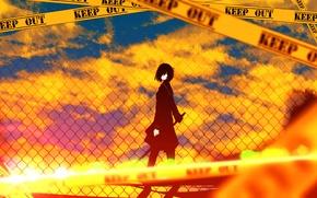 Картинка небо, девушка, солнце, облака, закат, оружие, забор, катана, аниме, арт, форма, школьница, tarbo, exxxpiation