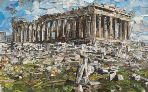 Картинка Vik Muniz, Postcards from Nowhere, contemporary art, Parthenon