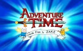 Обои крылья, надпись., Finn, джейк, финн, заставка, Jake, меч, Adventure time, время приключений, with Finn and ...