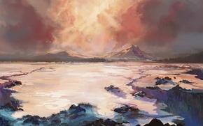 Картинка горы, арт, нарисованный пейзаж