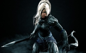 Обои warrior, woman, меч, The Elder Scrolls V: Skyrim, bow, dark, armor