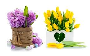 Картинка цветы, flowers, spring, букет, tulips, тюльпаны, яйца, гиацинты, желтые, easter, lilac