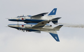 Картинка праздник, группа, пара, шоу, пилотажная, Blue Impulse, Kawasaki T-4