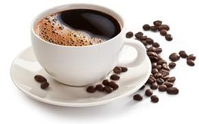 Обои блюдце, белый фон, зёрна, кофе, чашка