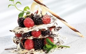 Картинка малина, шоколад, мята, десерт, ежевика, сладкое
