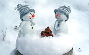 Обои снег, снеговики, шапки, орехи, фигурки