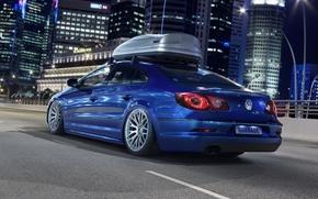 Картинка дорога, car, машина, авто, ночь, city, город, lights, огни, здания, Volkswagen, синяя, road, небоскрёбы, blue, …