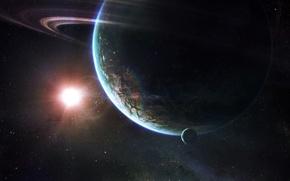 Обои планета, солнце, кольцо, звезды, космос