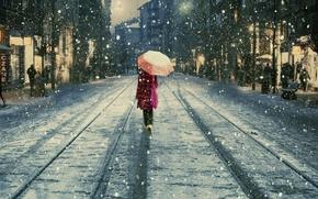 Картинка снег, люди, улица