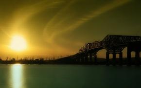 Обои восход, мост, река