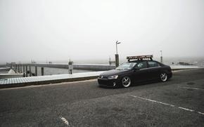 Картинка пляж, небо, туман, берег, Volkswagen, пирс, Jetta, MK6
