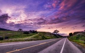 Картинка дорога, пейзаж, закат, HDR