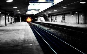 Обои свет, пути, city, город, рельсы, поезд, Метро, wallpapers, подземка