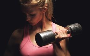 Картинка blonde, fitness, hand weights