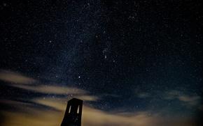 Картинка космос, звезды, ночь, башня
