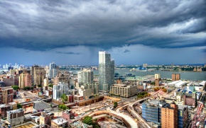Картинка Manhattan, New York City, Манхэттен, панорама, Нью-Йорк, Hudson River, Адская кухня, река Гудзон, Hell's Kitchen, ...